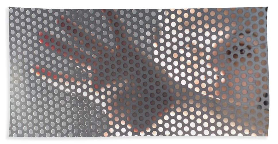 Hand Hand Towel featuring the photograph Woman Behind A Metal Mesh by Mats Silvan