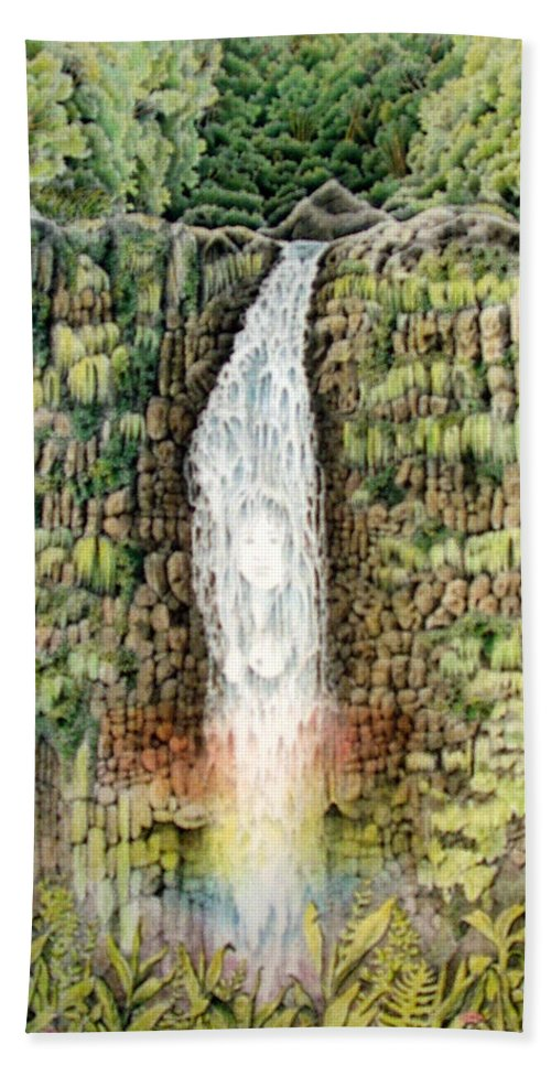 Akaka Falls Hand Towel featuring the painting Woman In The Mist by Vincent Callagher