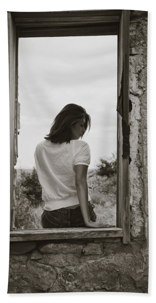 Woman Bath Sheet featuring the photograph Woman In Window by Scott Sawyer