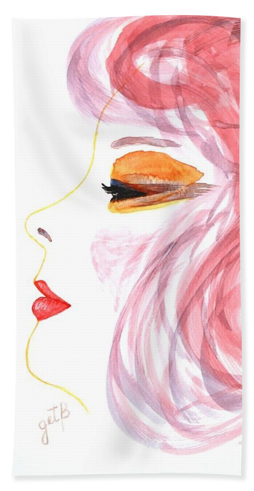 Woman Face Bath Sheet featuring the painting Woman Inner Trust Watercolor Painting by Georgeta Blanaru