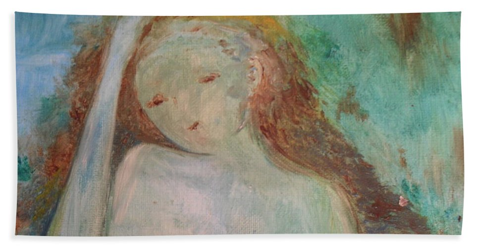 Woman Bath Sheet featuring the painting Woman Of Sorrows by Laurie Lundquist
