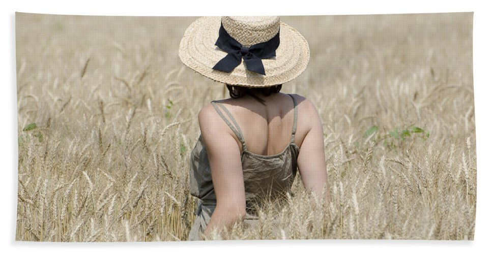 Woman Bath Sheet featuring the photograph Woman On The Wheat Field by Mats Silvan