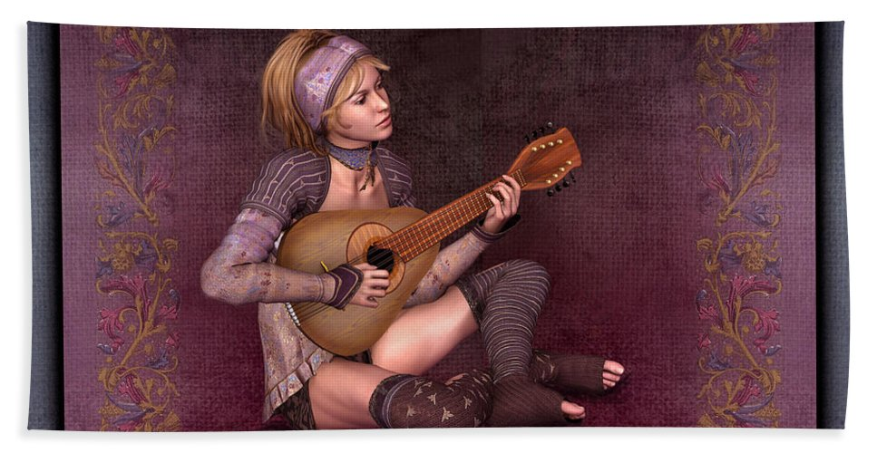 Woman Playing The Lyre Bath Sheet featuring the digital art Woman Playing The Lyre by John Junek