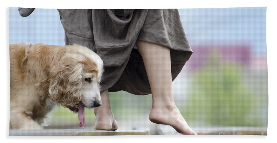 Shoes Bath Sheet featuring the photograph Woman With A Skirt And A Dog by Mats Silvan