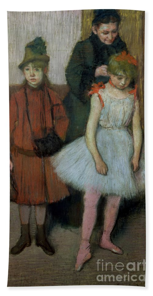 Impressionist; Dancer; Ballerina; Tutu; Muff; Mother And Child; Femme; Fillette; Fillettes Bath Sheet featuring the painting Woman With Two Little Girls by Edgar Degas