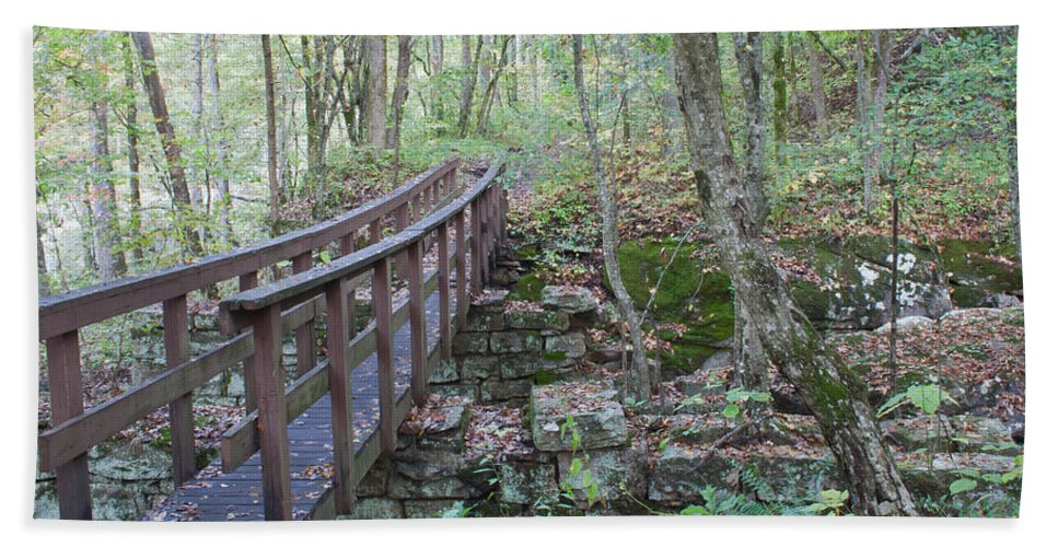 Crossing Hand Towel featuring the photograph Wooden Bridge by David Troxel