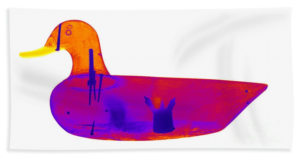 X-ray Hand Towel featuring the photograph Wooden Duck Decoy by Ted Kinsman