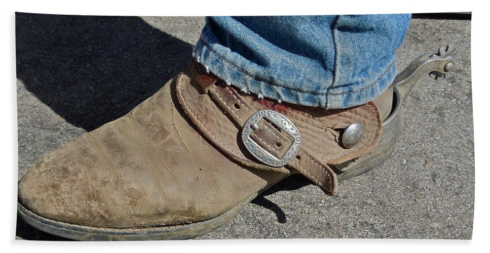 Boots Hand Towel featuring the photograph Work Boots by Diana Hatcher