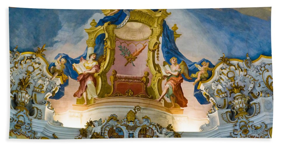 Architecture Bath Sheet featuring the photograph World Heritage Frescoes Of Wieskirche Church In Bavaria by U Schade