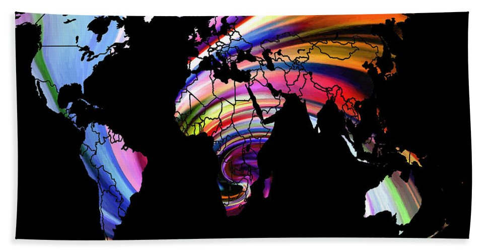 Map World Digital Art Atlas Country America Africa Asia Europe Australia Color Colorful Expressionism Impressionism Bath Sheet featuring the digital art World Map Abstract Painting 2 by Steve K