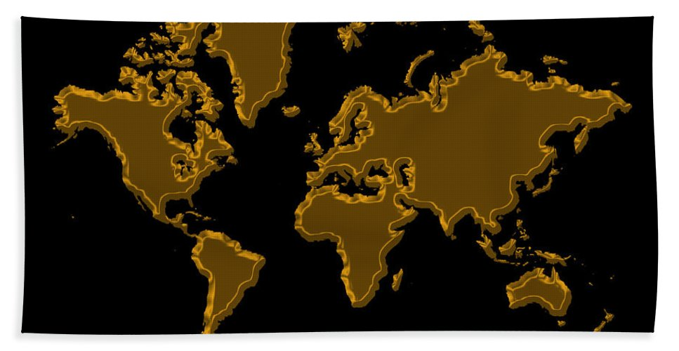 World Map Hand Towel featuring the photograph World Map Gold by Andrew Fare