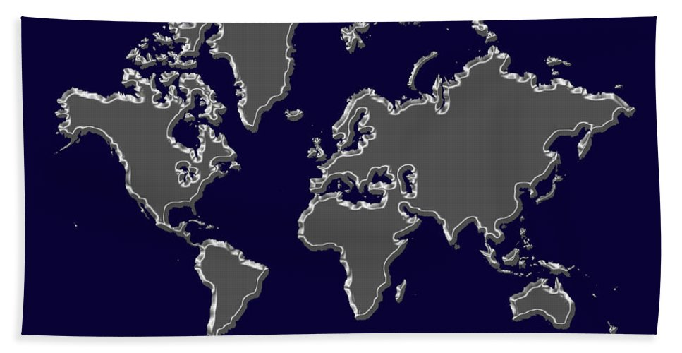 Map Hand Towel featuring the photograph World Map Silver by Andrew Fare