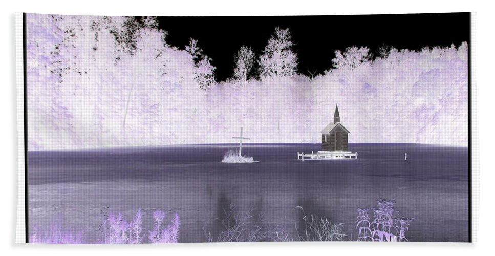 Chapel Bath Sheet featuring the photograph Worlds Smallest Chapel Church Negative Inverted Image by Rose Santuci-Sofranko