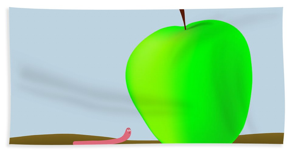 Worm Bath Sheet featuring the digital art Worm And Big Apple by Michal Boubin