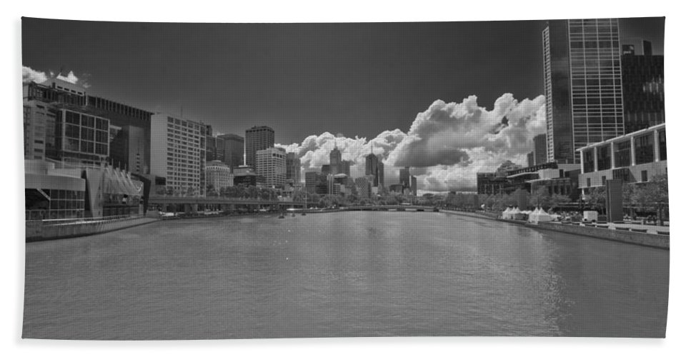 Yarrah River Bath Sheet featuring the photograph Yarrah River Melbourne In B And W by Douglas Barnard