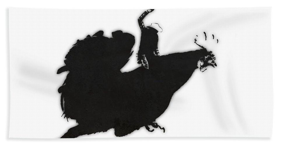 Banksy Bath Sheet featuring the digital art Yeehaaa by Pixel Chimp