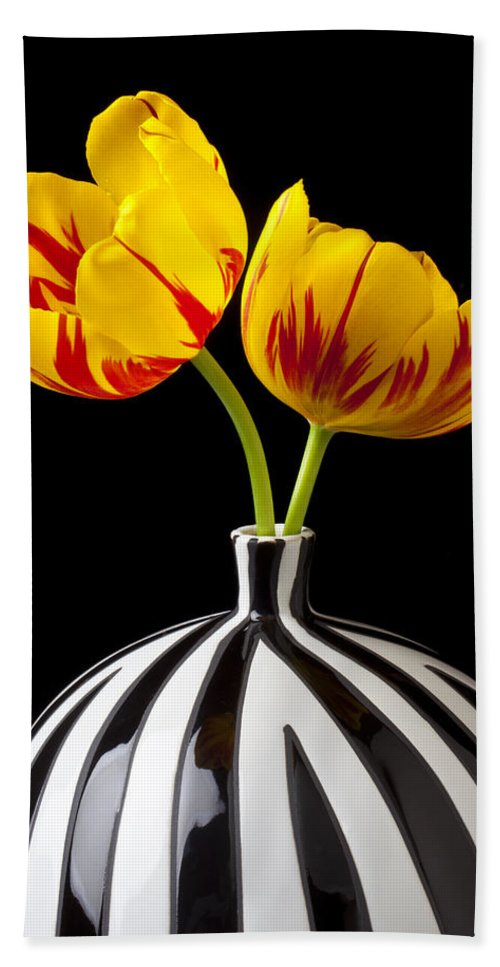 Yellow Hand Towel featuring the photograph Yellow And Red Tulips by Garry Gay