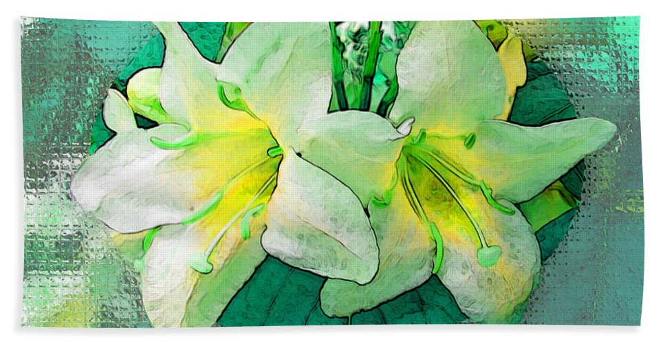 Flowers Bath Sheet featuring the photograph Yellow Aqua Weigela Art by Debbie Portwood