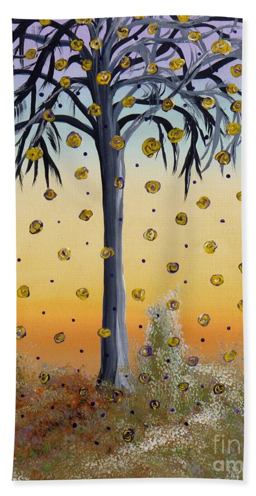 Yellow Roses Hand Towel featuring the painting Yellow-blossomed Wishing Tree by Alys Caviness-Gober