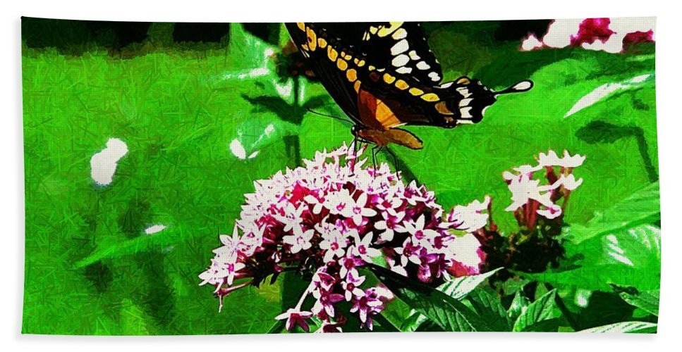 Yellow Butterfly Flower Bath Sheet featuring the photograph Yellow Butterfly by Alice Gipson
