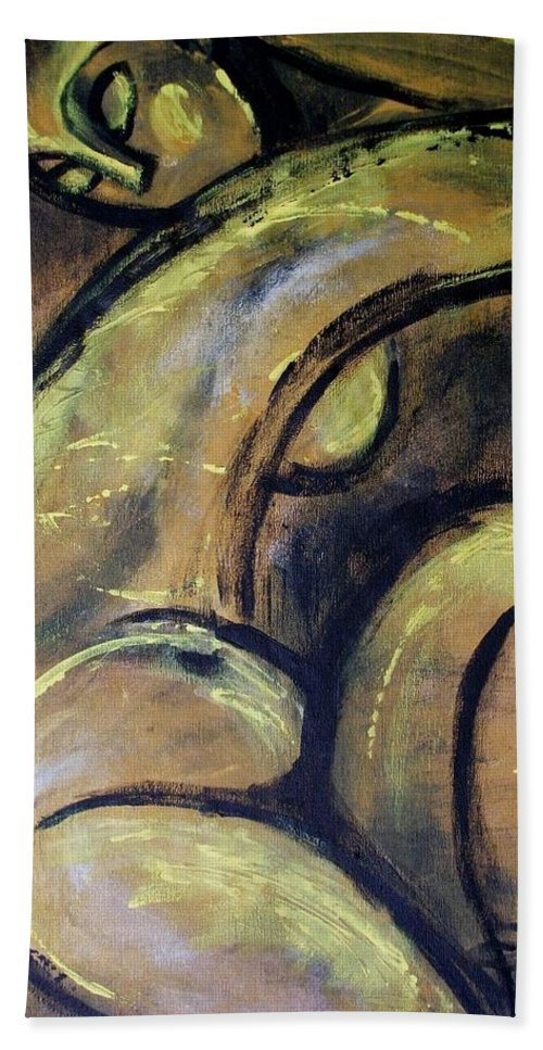 Yellow Bath Sheet featuring the painting Yellow Caryatid - Nudes Gallery by Carmen Tyrrell