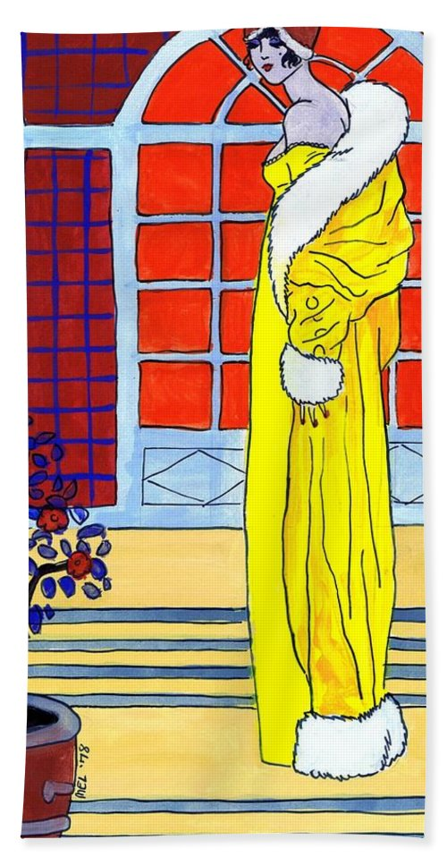 Nostalgia Hand Towel featuring the drawing Yellow Coat by Mel Thompson