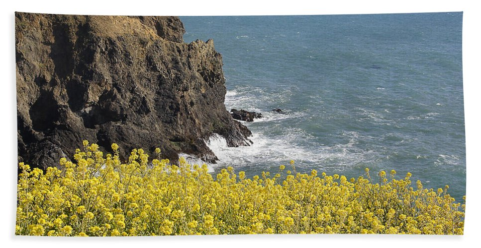 Highway 1 Hand Towel featuring the photograph Yellow Flowers On The Northern California Coast by Mick Anderson
