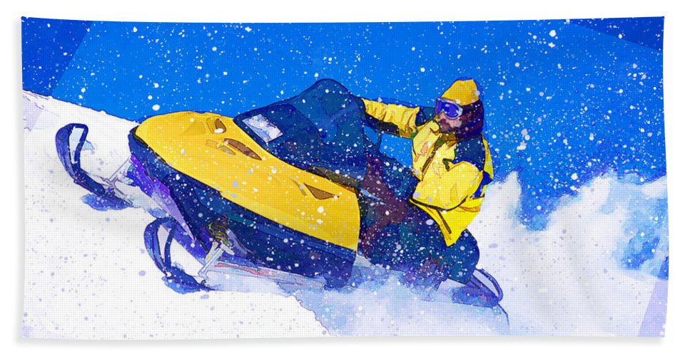 Snowmobile Bath Sheet featuring the painting Yellow Snowmobile In Blizzard by Elaine Plesser