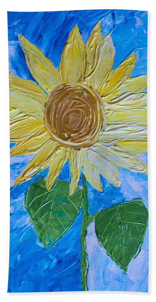 Art Hand Towel featuring the painting Yellow Sunshine by Heidi Smith