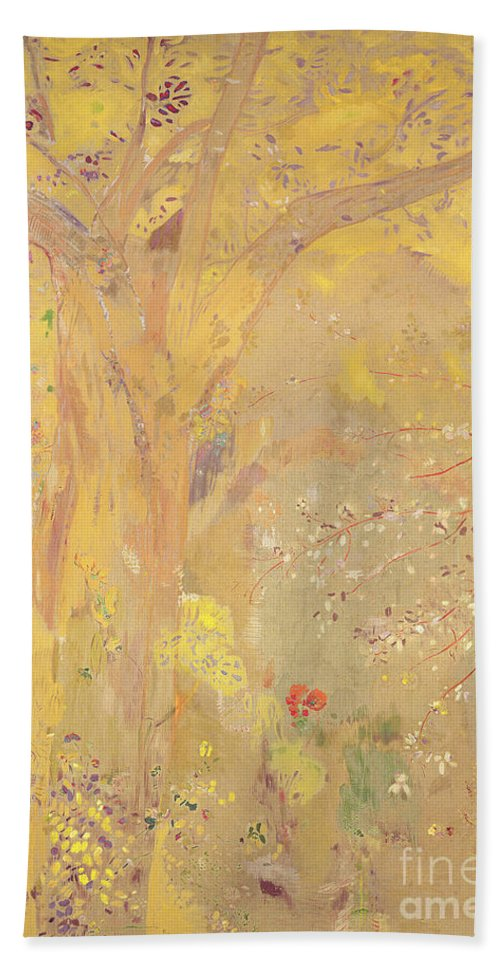 Flower; Flowers; Poppy; Blossom; Mural; Symbolist; Wall Painting; Nature; Spring; Seasons; Warm; Abstract Hand Towel featuring the painting Yellow Tree by Odilon Redon