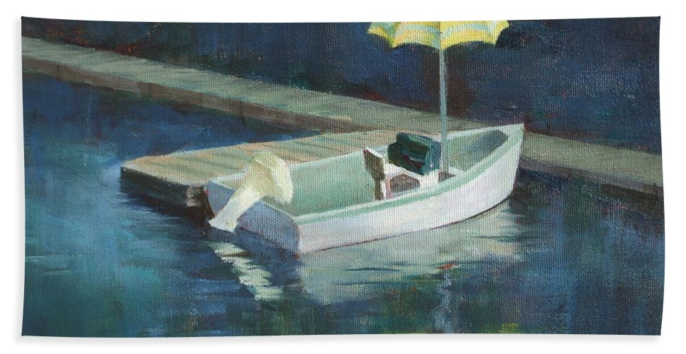 Outdoors Bath Sheet featuring the painting Yellow Umbrella by Claire Gagnon