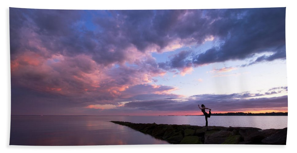 Yoga Hand Towel featuring the photograph Yoga Dancer Asana On Beach Jetty by Stephanie McDowell