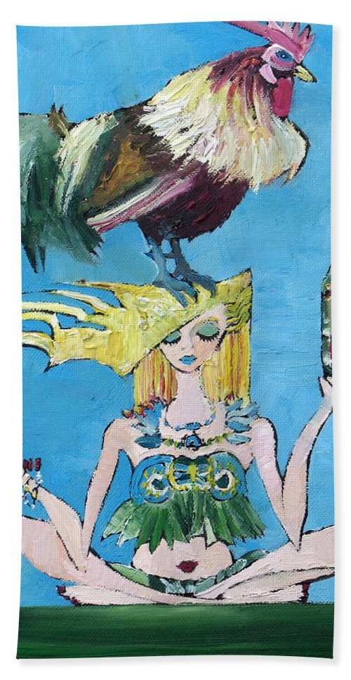 Cock Hand Towel featuring the painting Yoga Girl With Cock - Bottle Of Wine And Egg by Fabrizio Cassetta