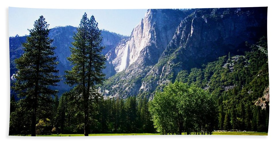 Yosemite Bath Sheet featuring the photograph Yosemite Falls From The Ahwahnee by Eric Tressler
