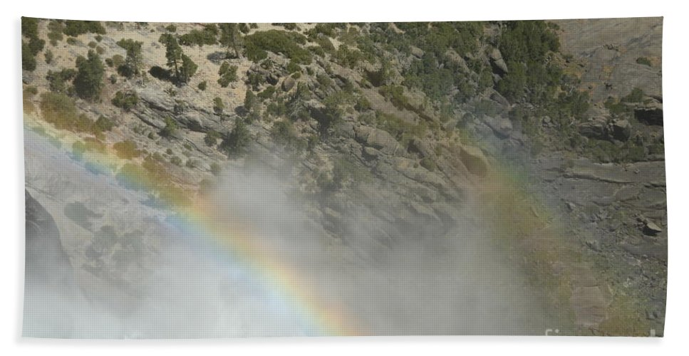 Yosemite National Park Hand Towel featuring the photograph Yosemite Falls Rainbow by Cassie Marie Photography