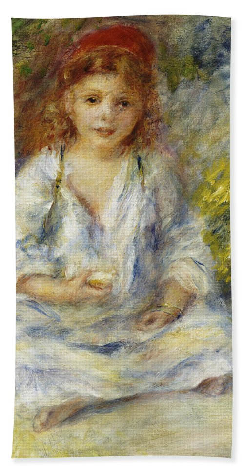 Impressionist; Impressionism; Female; Portrait; Seated; Sitting; Bath Sheet featuring the painting Young Algerian Girl by Pierre Auguste Renoir