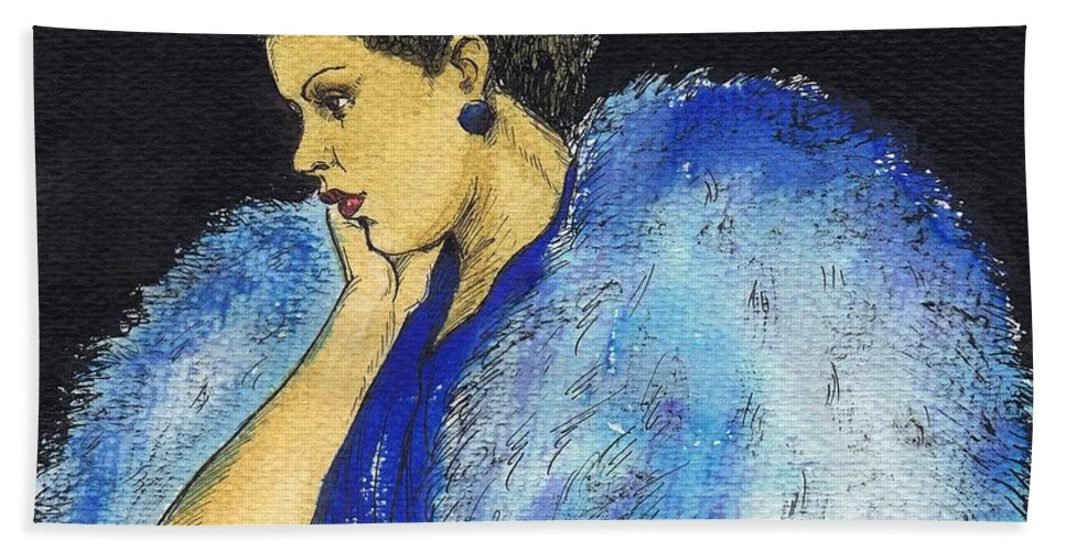 Billie Holiday Hand Towel featuring the drawing Young Billie Holiday by Mel Thompson