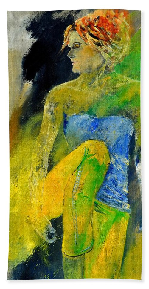 Figurative Bath Sheet featuring the painting Young Girl 572180 by Pol Ledent