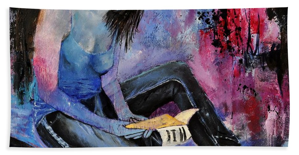Figurative Bath Sheet featuring the painting Young Girl 662160 by Pol Ledent