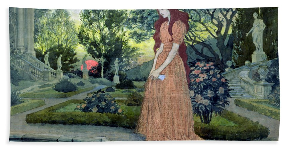 Sunset; Formal; Statues; Pool; Rose Bushes; Sad; Mournful; Paths; Landscape; Forlorn Bath Sheet featuring the painting Young Girl In A Garden by Eugene Grasset
