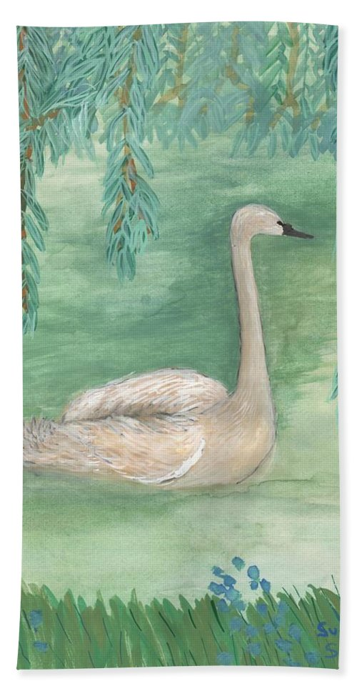 Swan Hand Towel featuring the painting Young Swan Under Willow Tree by Sushila Burgess