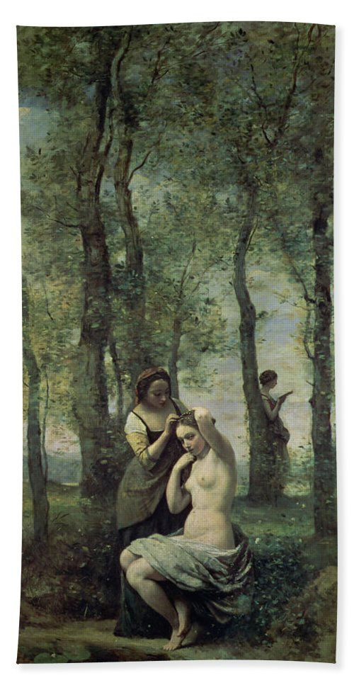 Young Woman At Her Toilet Bath Sheet featuring the painting Young Woman At Her Toilet by Jean Baptiste Camille Corot
