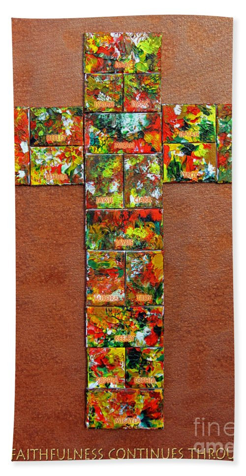 Bath Sheet featuring the mixed media Your Faithfulness by Gwyn Newcombe