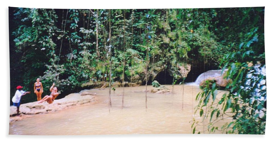 Jamaica Bath Towel featuring the photograph YS Falls2 Jamaica by Debbie Levene