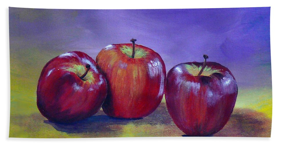 Apple Bath Sheet featuring the painting Yummy Apples by Dee Carpenter