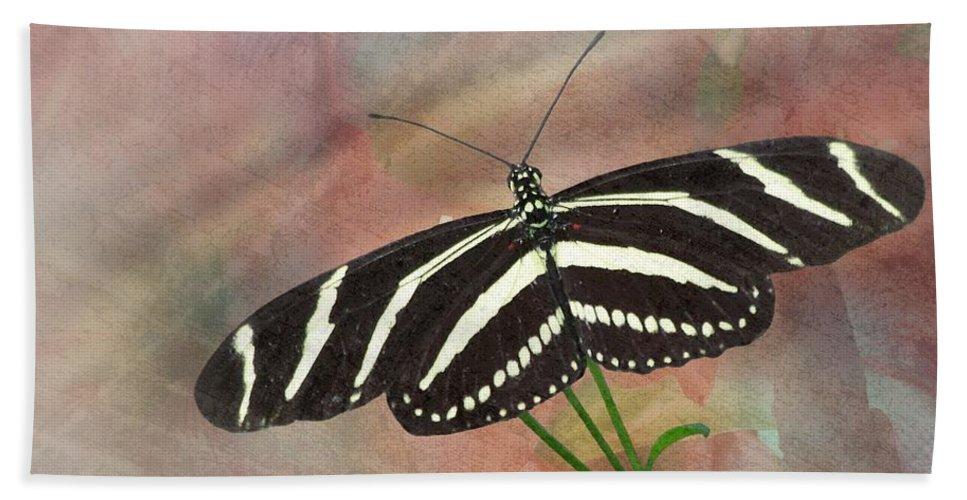 Zebra Bath Sheet featuring the photograph Zebra Longwing Butterfly-3 by Rudy Umans
