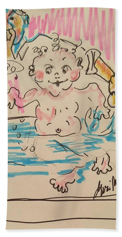 Kids Bath Sheet featuring the painting     Bathing Time by Geraldine Myszenski