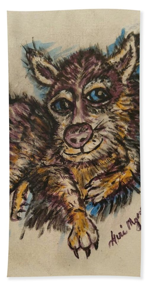 Husky Bath Sheet featuring the painting   Blue Eyed Husky by Geraldine Myszenski