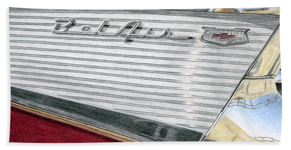 Classic Bath Sheet featuring the drawing 1957 Chevrolet Bel Air Convertible by Rob De Vries