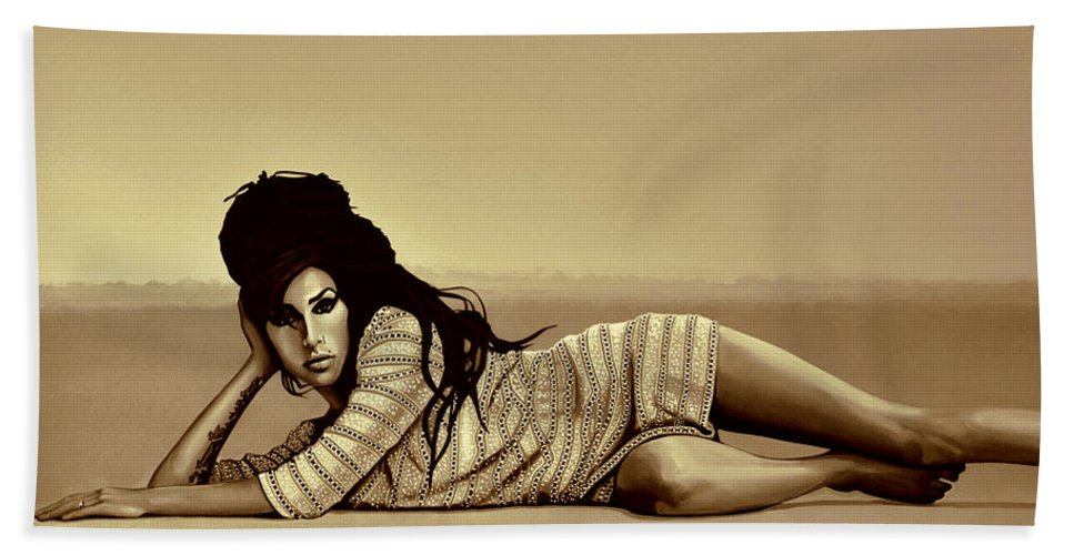 Amy Winehouse Bath Towel featuring the mixed media  Amy Winehouse Gold by Meijering Manupix